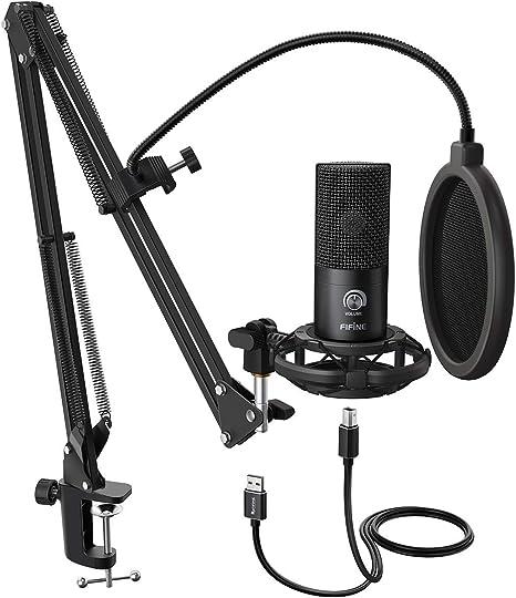 FIFINE Micrófono USB de Condensador para estudio, Kit de ...
