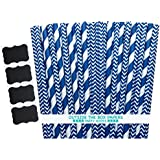 Outside the Box Papers Navy Blue Stripe and Chevron Paper Straws 7.75 Inches 100 Pack Navy Blue, White