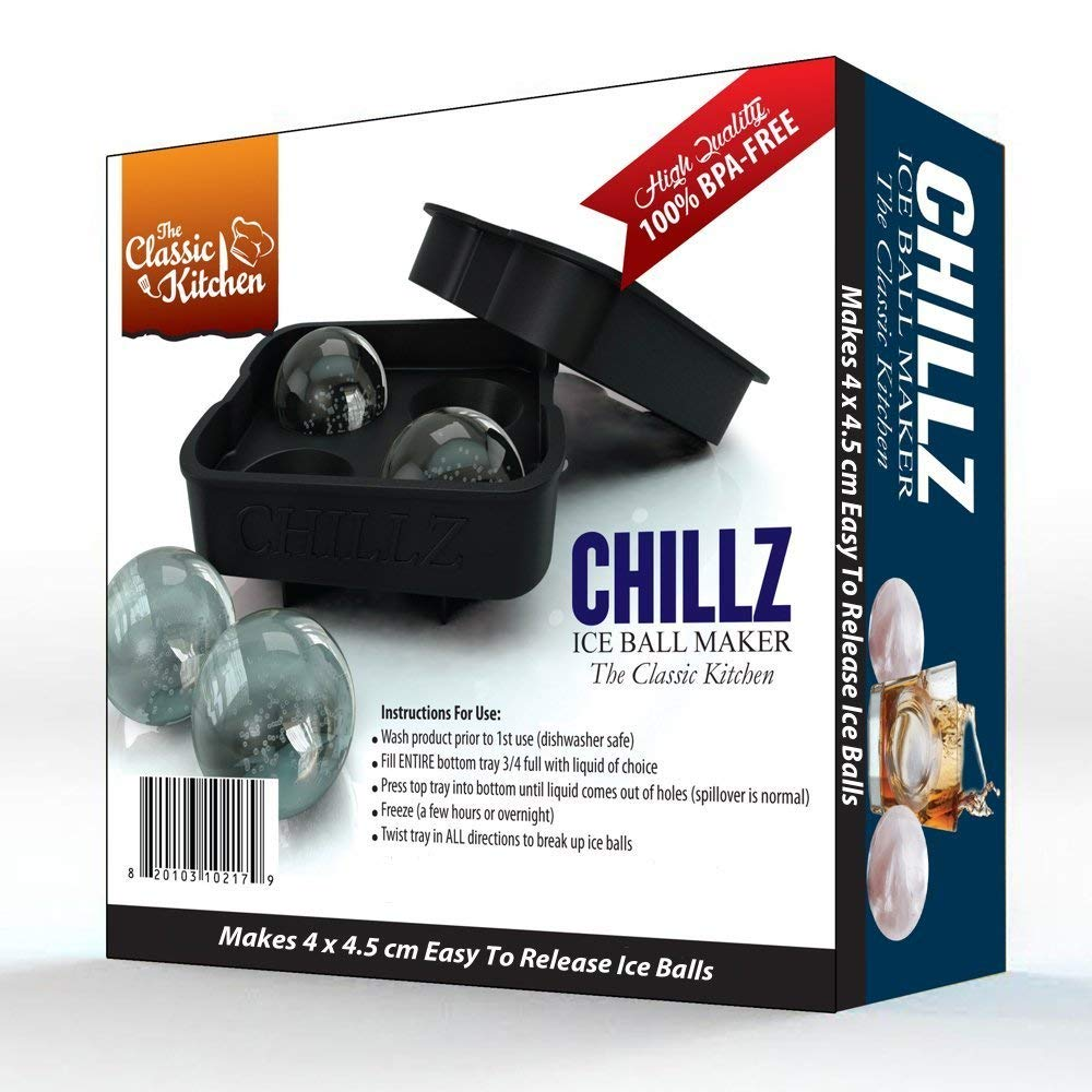 Black Chillz Blox 2pk 4 stampi da 4 x 4,5 cm rotondi Silicone Chillz stampo in silicone per sfere di ghiaccio giganti The Classic Kitchen ideale per whisky cocktail e liquori colore nero