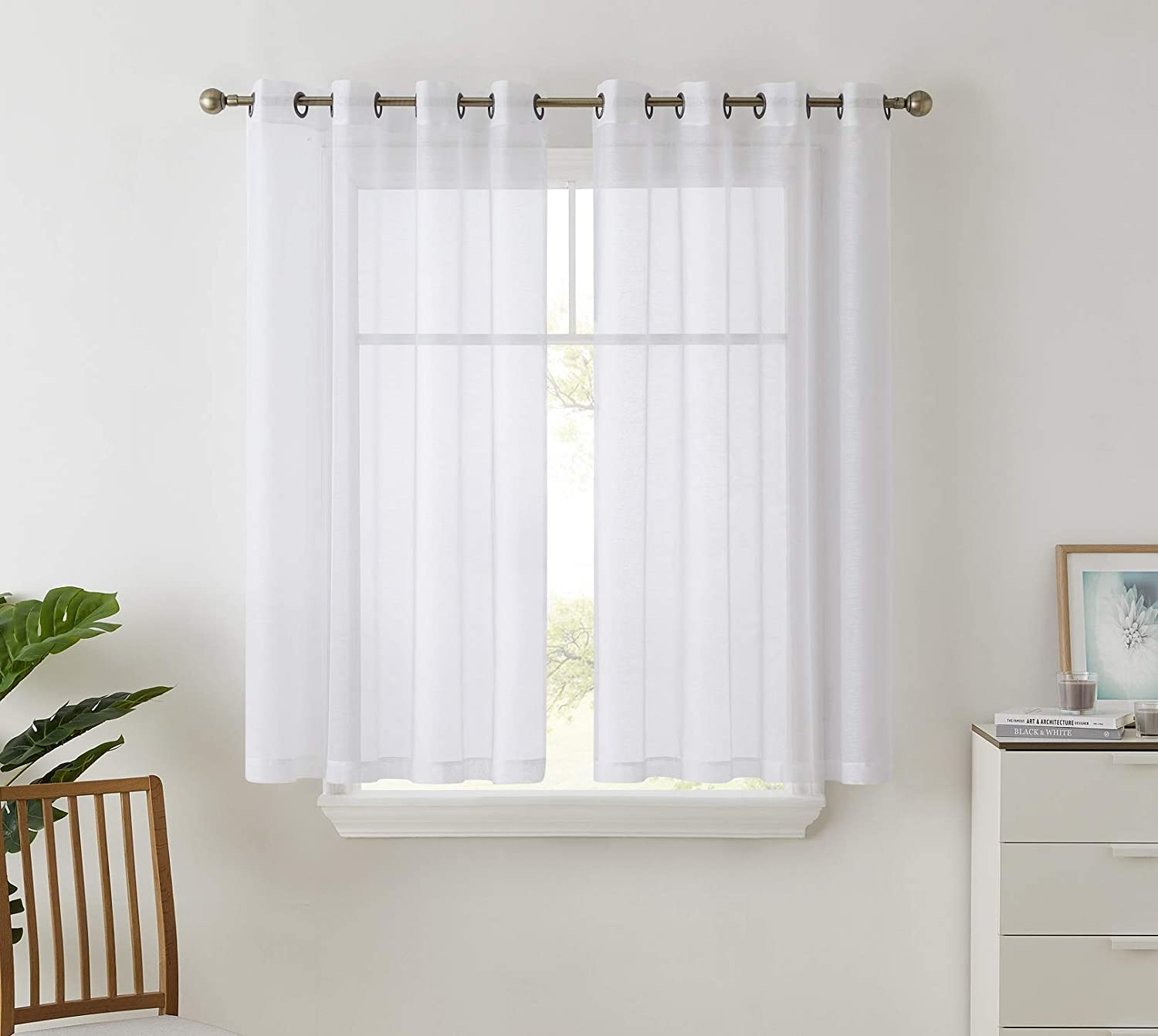 "HLC.ME 2 Piece Semi Sheer Curtains Window Treatment Grommet Voile Panels for Living Room, Bedroom, Kids Room (54"" W x 63"" L, White)"