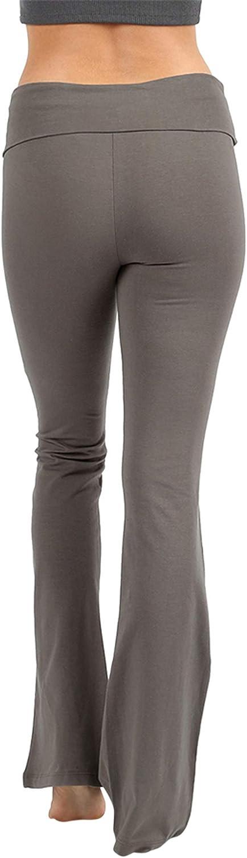 NUNU in LA Womens /& Plus Foldover Stretch Waist Bootleg Cotton Workout Yoga Pants
