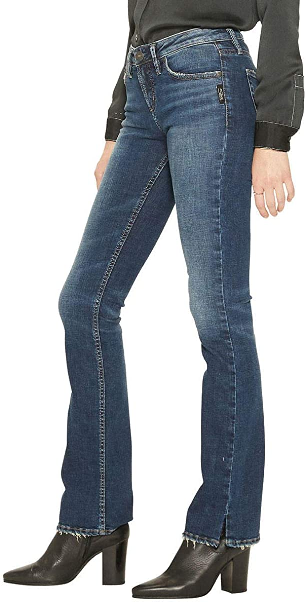 Womens Suki Curvy Fit Mid Rise Slim Bootcut Jeans Silver Jeans Co