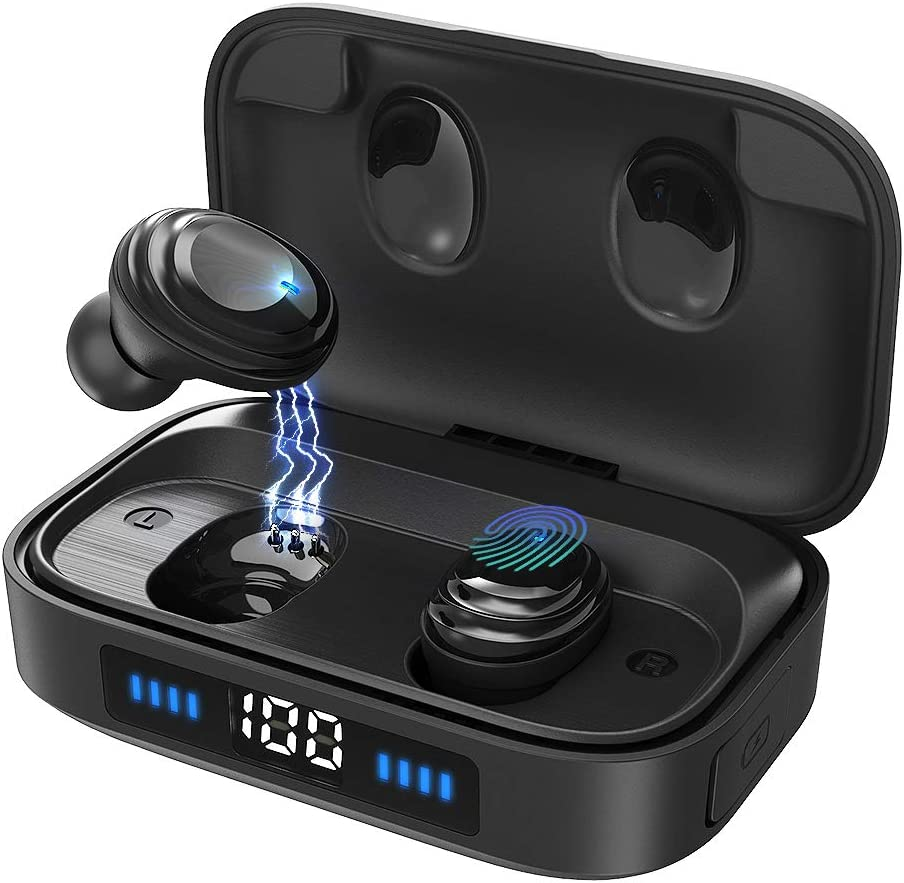 True Wireless Earbuds,Bluetooth 5.0 Headphones with 2000mAh Charging Case LED Battery Display,TWS Stereo Noise Cancelling IPX7 Waterproof in-Ear Built-in Mic Earphones,Deep Bass Headset for Sports