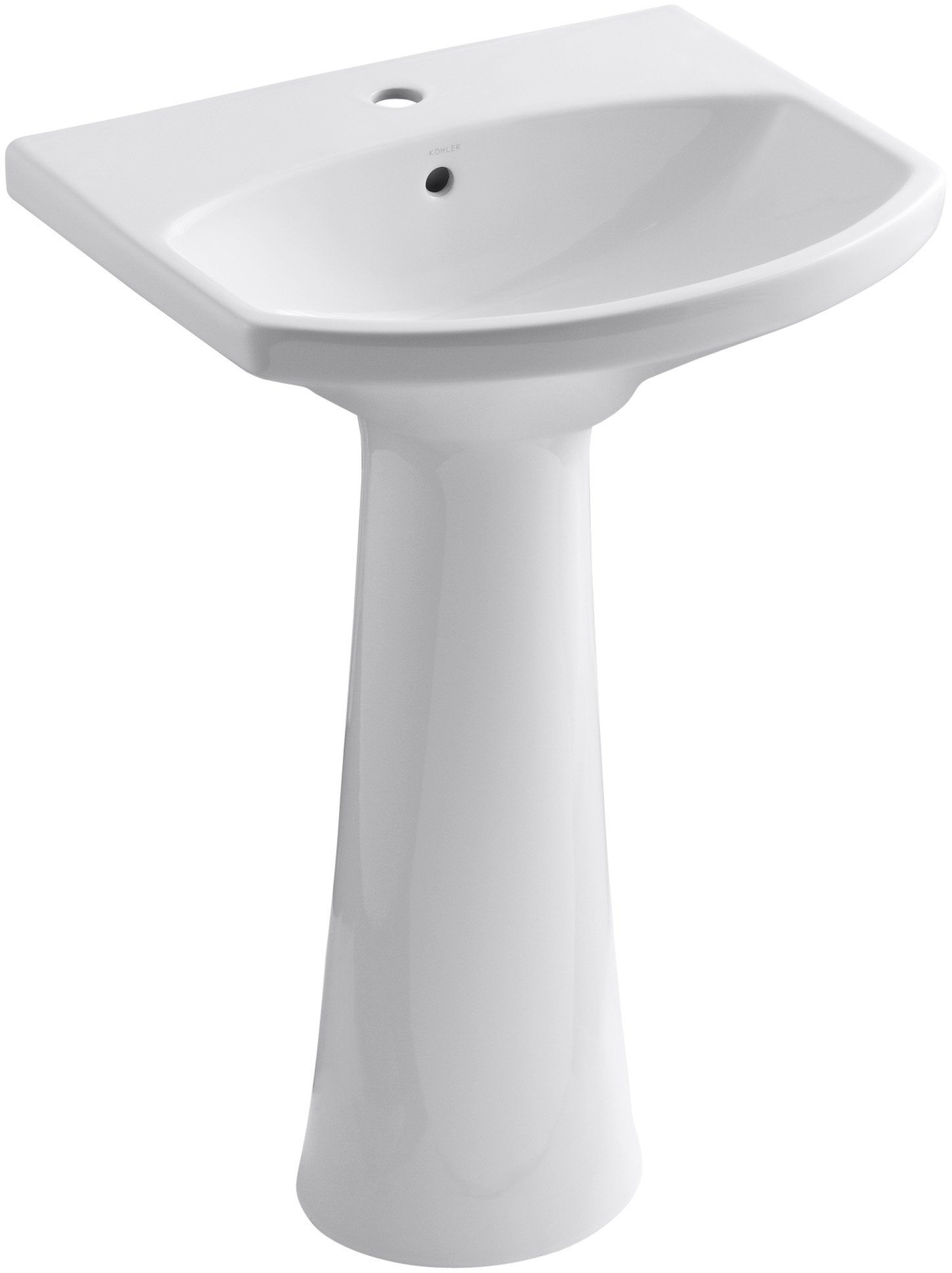 KOHLER K 2362 1 0 Cimarron Pedestal Bathroom Sink With Single Hole Faucet  Drilling, White