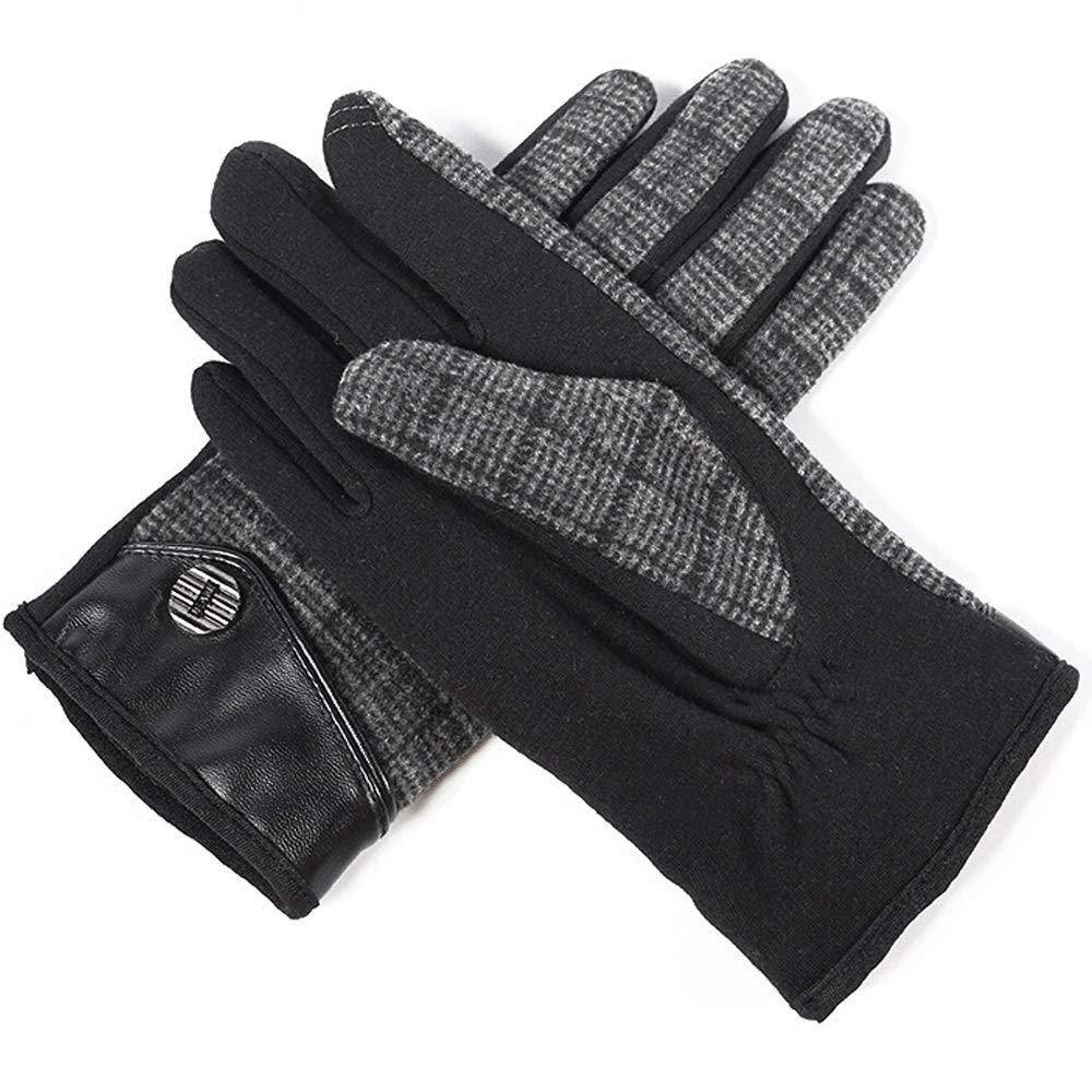 LBYMYB Wollmänner Herbst Und Winter Warm Und Samt Touch Screen Fingerhandschuhe, Mehrere Farben Handschuh (Farbe   SCHWARZ)