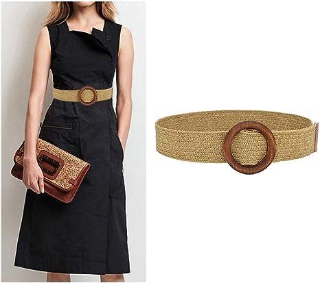 Boho Intrecciata Cintura in Vita Vintage Apricot Wonepic Le Donne Skinny Summer Dress Cinghia di Modo Paglia Tessuto Elastico Stretch Waist Legno Banda Fibbia della Cintura