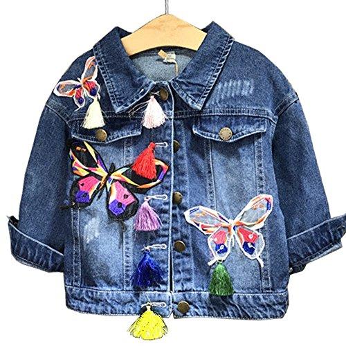 Butterfly Denim Jacket (Girls Denim Blue Novelty Coat Jacket Special (4, Blue))