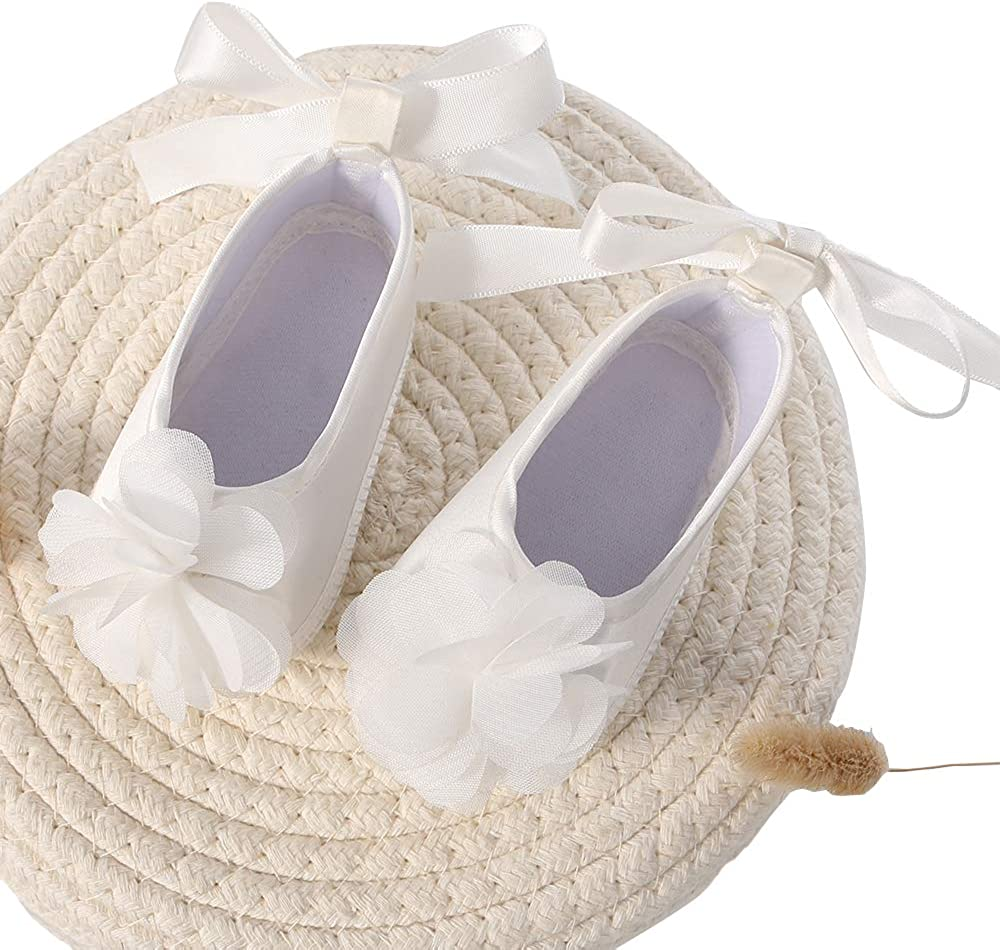 Baby Girls Shoe for Christening Dress Cream Baptism Flowers Laces Shoes