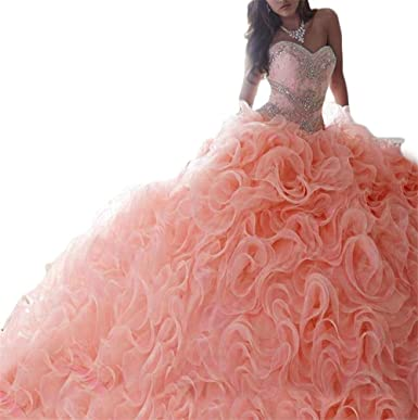 BaiYiYan Womens Quinceaera Dresses Prom Dress Lace Beaded 2 Piece Ball Gown B17 Blush 2