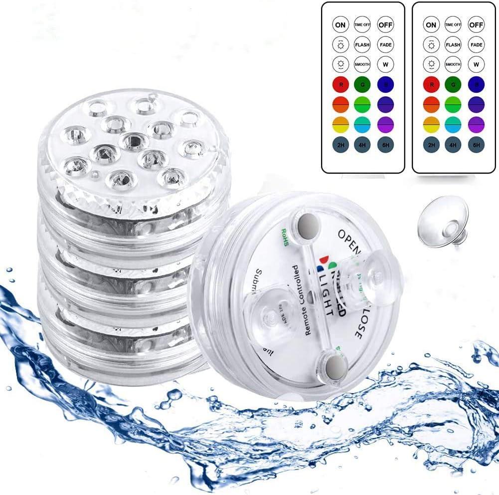 StillCool Luces Sumergibles con 16 Colores 13 LEDs, 4 PZS Piscina Luz LED Impermeable con Magnetica 10 Ventosas y 2 Mandos a Distancia con Batería para Piscina Baño Jacuzzi y Acuario - Colores