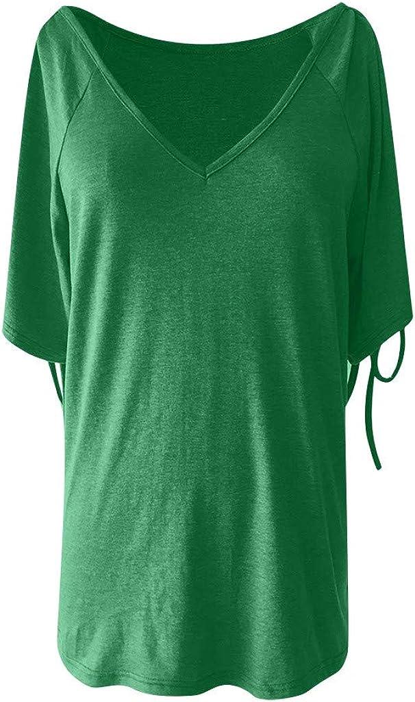 Teresamoon Womens Summer Casual Short Sleeve Tunic Shirt Round Neck Blouse Tops