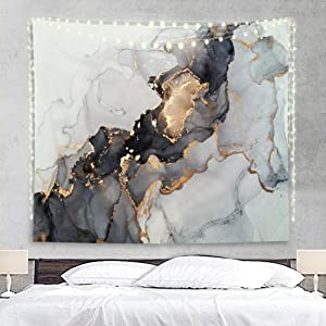 Homewelle Marble Abstract Tapestry Luxury Texture Dark 51Hx59W Inch Gold Gouache Unique Ink Painting Elegance Vintage Stone Flow Liquid Modern Art Wall Hanging Bedroom Living Room Dorm Decor Fabric