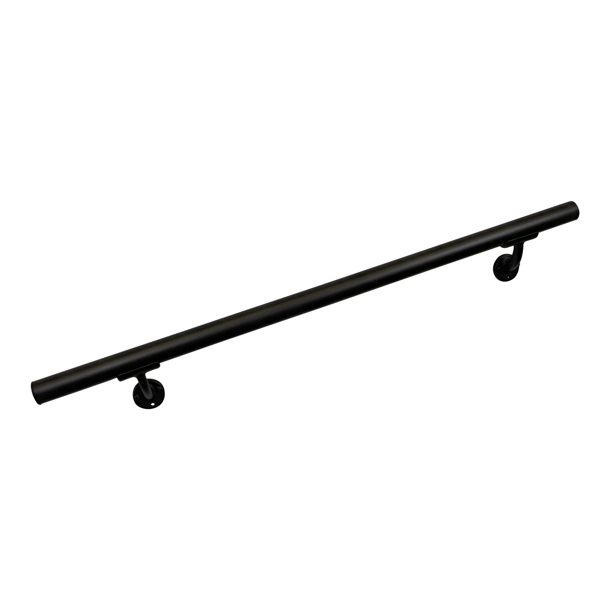 Aluminum Handrail Direct CHR 5' Handrail Section with mounts - Black Fine Texture