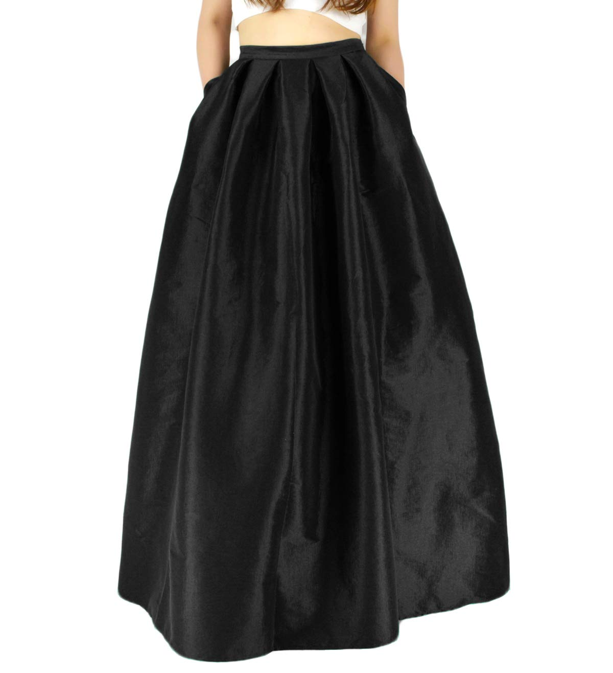 YSJERA Women's High Waist A-Line Pleated Maxi Skirts Party Swing Skirt with Pockets (14, Black Len 43.3'')