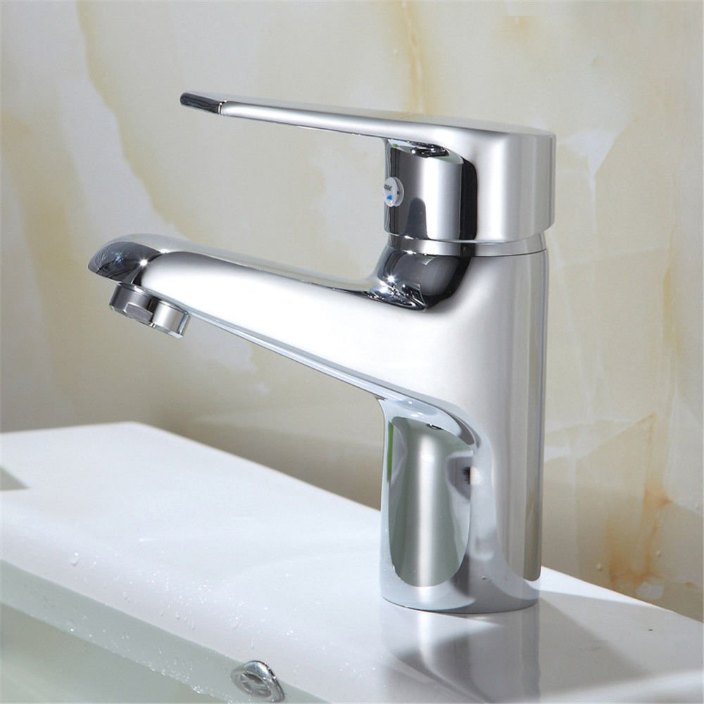 Lpophy Bathroom Sink Mixer Taps Faucet Bath Waterfall Cold and Hot Water Tap for Washroom Bathroom and Kitchen Single Hole Copper Hot and Cold Single Hole Mixed Single Open Quick Opening