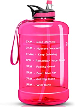Pink-Blue, 1 Gallon BuildLife Gallon Motivational Water Bottle Fitness Workout with Time Marker /& Straw Drink More Daily Clear BPA-Free Large 128OZ Capacity Gym Camping Outdoor Sports
