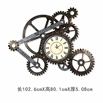 QMPZG Reloj De Pared El Viento Reloj Digital Retro Roma Industrial Pais Americano Vintage Metal Hierro Viejo Reloj Gear: Amazon.es: Hogar