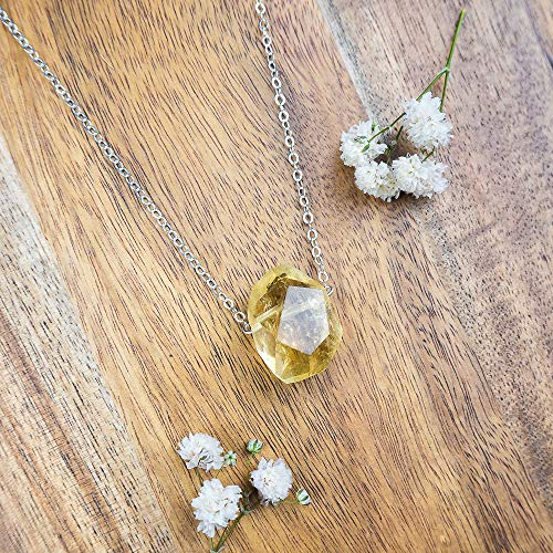 - Small citrine nugget crystal necklace in 925 sterling silver - 16