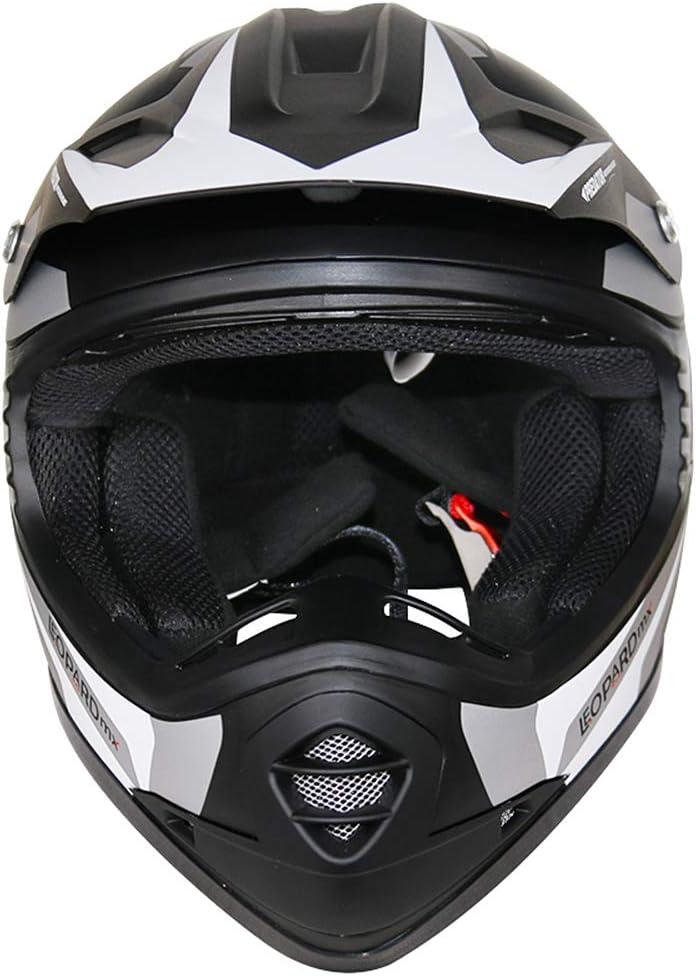 55cm X17- Rouge Leopard LEO-X17 Enfant Casque de Moto Casques Motocross Bicyclette ATV MX VTT Junior Sports ECE 22-05 Approbation XL