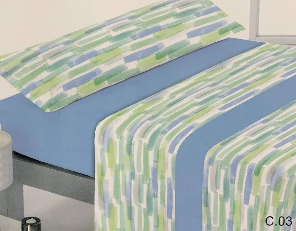 Reig Marti Juego DE SÁBANAS Estampado 3/Piezas Modelo: VOLAM, Color: 03 Azul, Medida: Cama DE 135x190/200cm.
