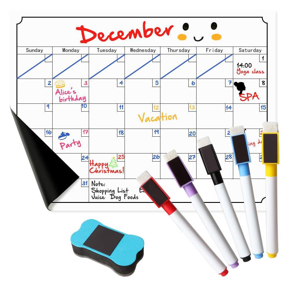 "RefrigeratorCalendarMagnetic Dry Erase Calendar Whiteboard Calendar for Kitchen Refrigerator Smart Planners 15.8"" x 11.8"""