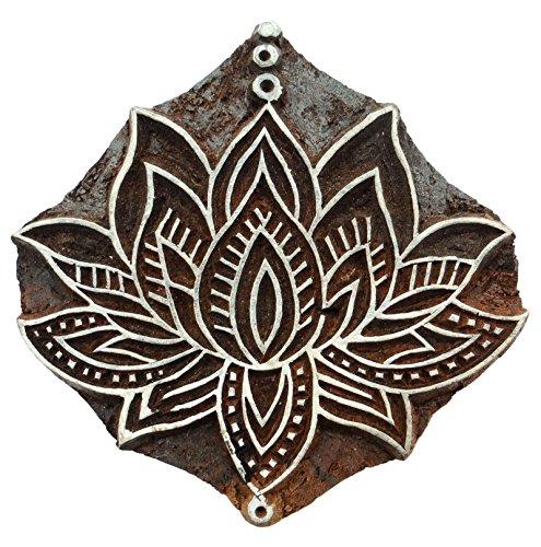 Lotus Pattern Wooden Hand Block Printing Te x tile Carved Blocks Print Stamps