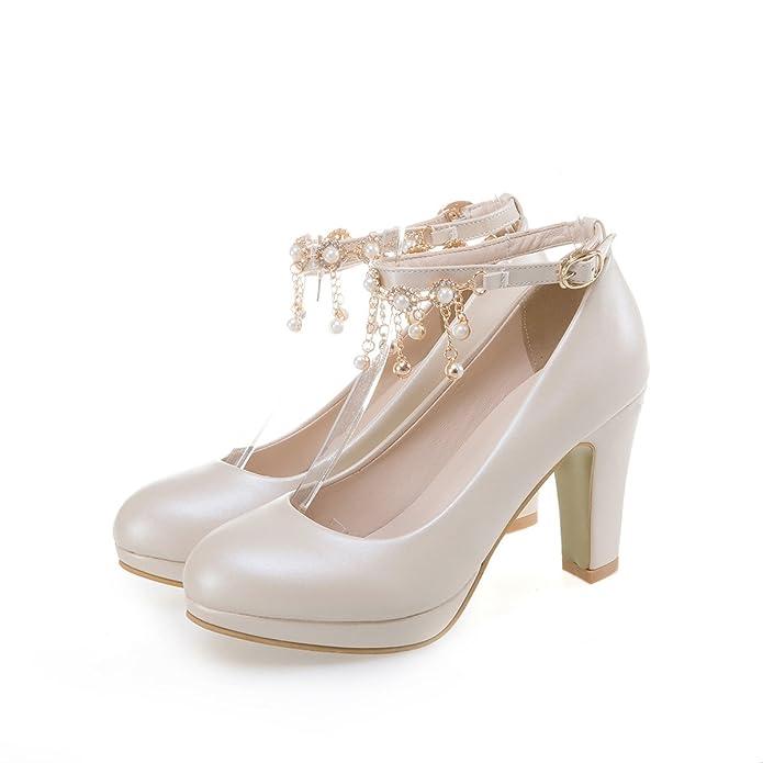 QIN&X Femmes Bout Rond Talon Haut Bloc Bouche Peu Profonde Cour Mariage Prom Shoes Beige,Pompes,36