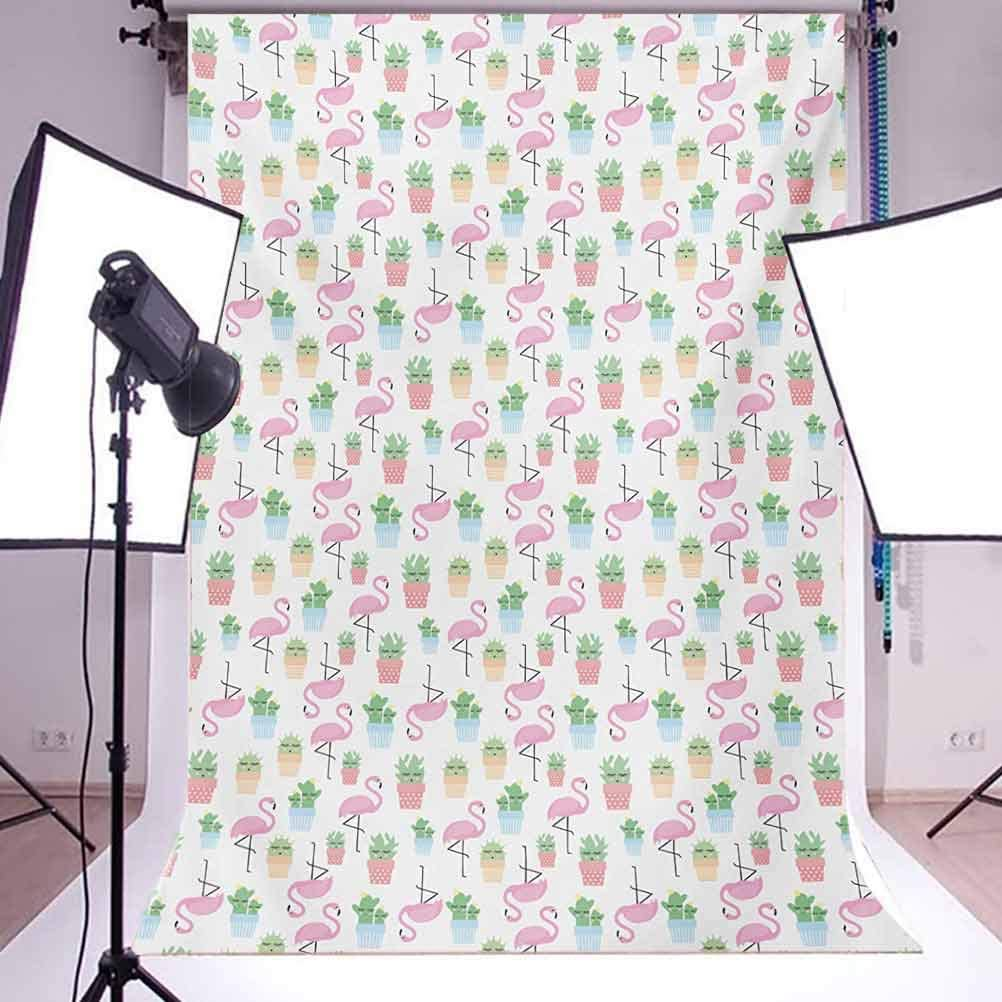 Cactus 6x8 FT Photo Backdrops,Flamingos and Sleeping Plants in Pots Cute Children Cartoon Pattern Tropical Bird Background for Child Baby Shower Photo Vinyl Studio Prop Photobooth Photoshoot Multicol