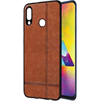 Casotec Premium Leather Finish Soft TPU Case Cover for Samsung Galaxy M20 - Brown