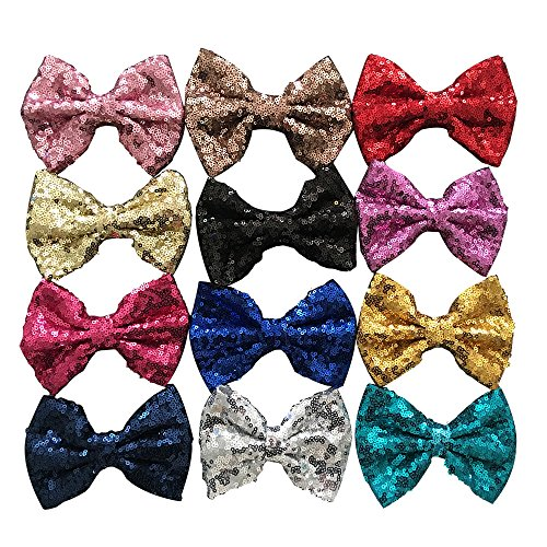 Yazon 5inch Sequin Fabric Bows Hair Clips Baby Sequin Hair Bows Girl's Hair Clips 12pcs mix 12 - Sequins 5 Inch