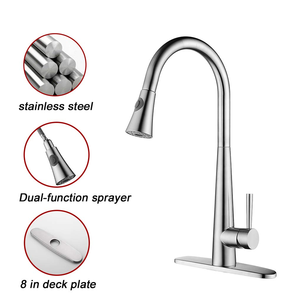OLEAH 1 or 3 Hole Stainless Steel Brushed Finished Kitchen Faucet with Pull Down Dual-function Sprayer, Kitchen Sink Faucets with Sink 3 Hole Cover Deck Plate
