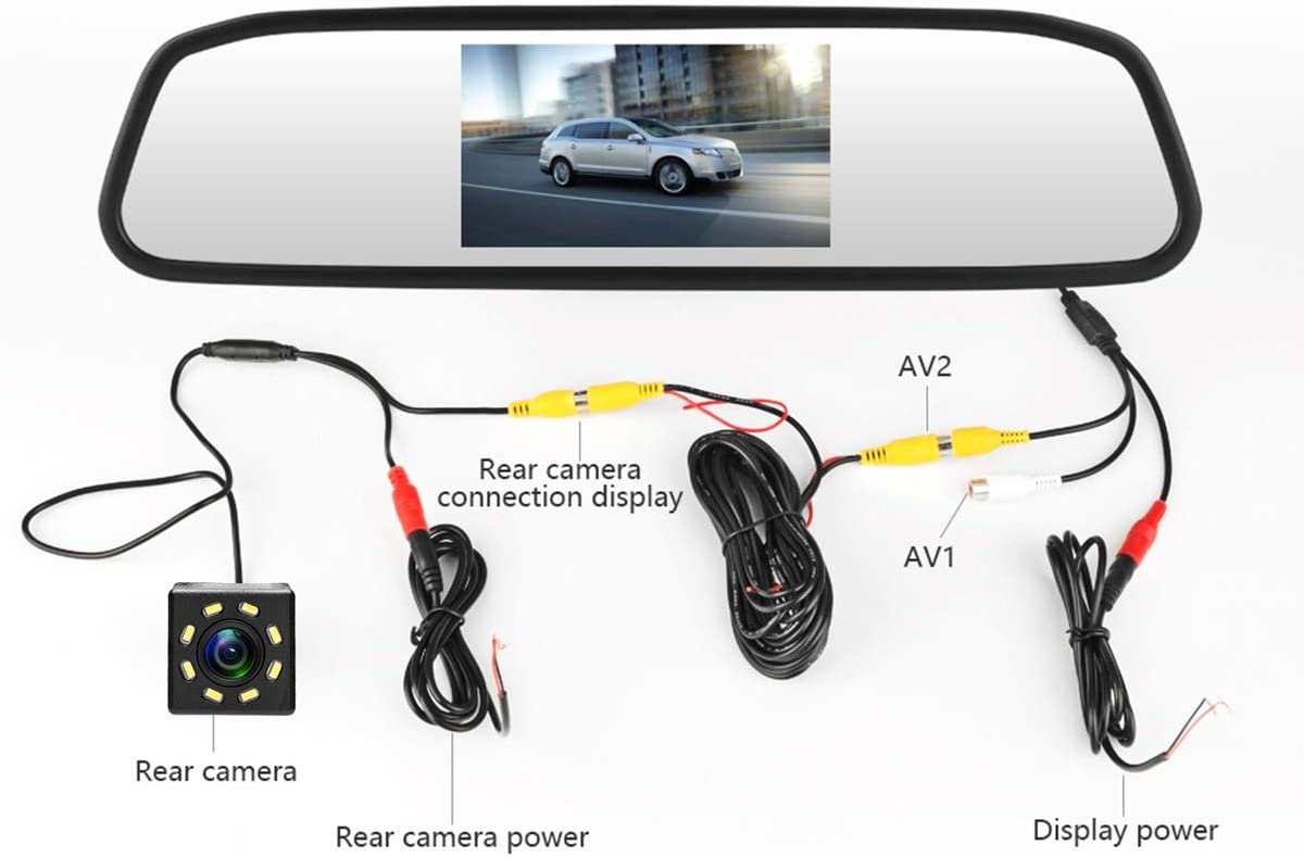 aSATAH Car 4.3 inch TFT in-Mirror Monitor and Rear View Camera for Mercedes Benz C180 C200 C280 C300 C350 C63 AMG /& Vehicle Camera Waterproof and Shockproof Reversing Backup Camera 8 LED Camera