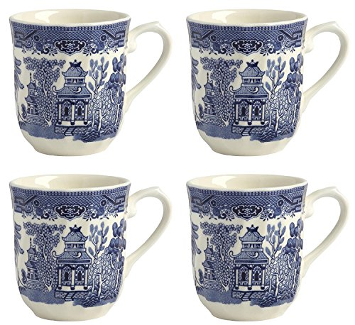Queen's Blue Willow Imperial Coffee Mugs, Blue and Ivory Design, Earthenware Construction (Set of 4) ()