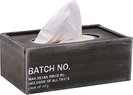 ENXING Caja de pañuelos de Viento Industrial Papel de Madera ...