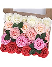 MACTING Artificial Flower Rose, 30pcs Real Touch Artificial Roses for DIY Bouquets Wedding Party Baby Shower Home Decor