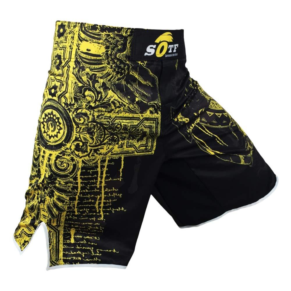 Men Boxing Shorts Polyester MMA Shorts Print Sparring Muay Thai Fight Training Shorts SOTF