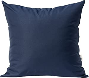 "TangDepot Durable Faux Silk Solid Pillow Shams, Square Decorative Pillow Covers, Throw Pillow Covers, Indoor/Outdoor Cushion Covers Pillows Shells - (22""x22"", Navy Blue)"