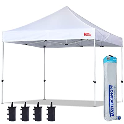 MASTERCANOPY Pop Up Canopy Tent 10x10 Commercial Instant Canopies with Heavy Duty Roller Bag, Bonus 4 Canopy Sand Bags (10x10 Feet, White) : Garden & Outdoor