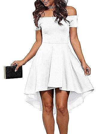 367571ea76a2a7 Femmes Col Bateau Taille Haute Robe de Soirée du Club Mariage Manche ...