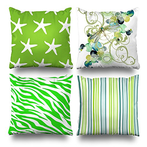 (Set Of 4 Decorativepillows 18 x 18 inch Throw Pillow Covers, Green Dragonfly Abstract Zebra Stripes Animal Series Double-sided Decorative Home Decor Pillow case Garden Sofa Bedroom Car Nice Gift)