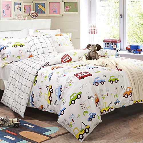 Boys Bedding Sets Cars Bedding 100% Cotton Duvet Covers Set 3-Piece Queen Size (No Comforter Included)