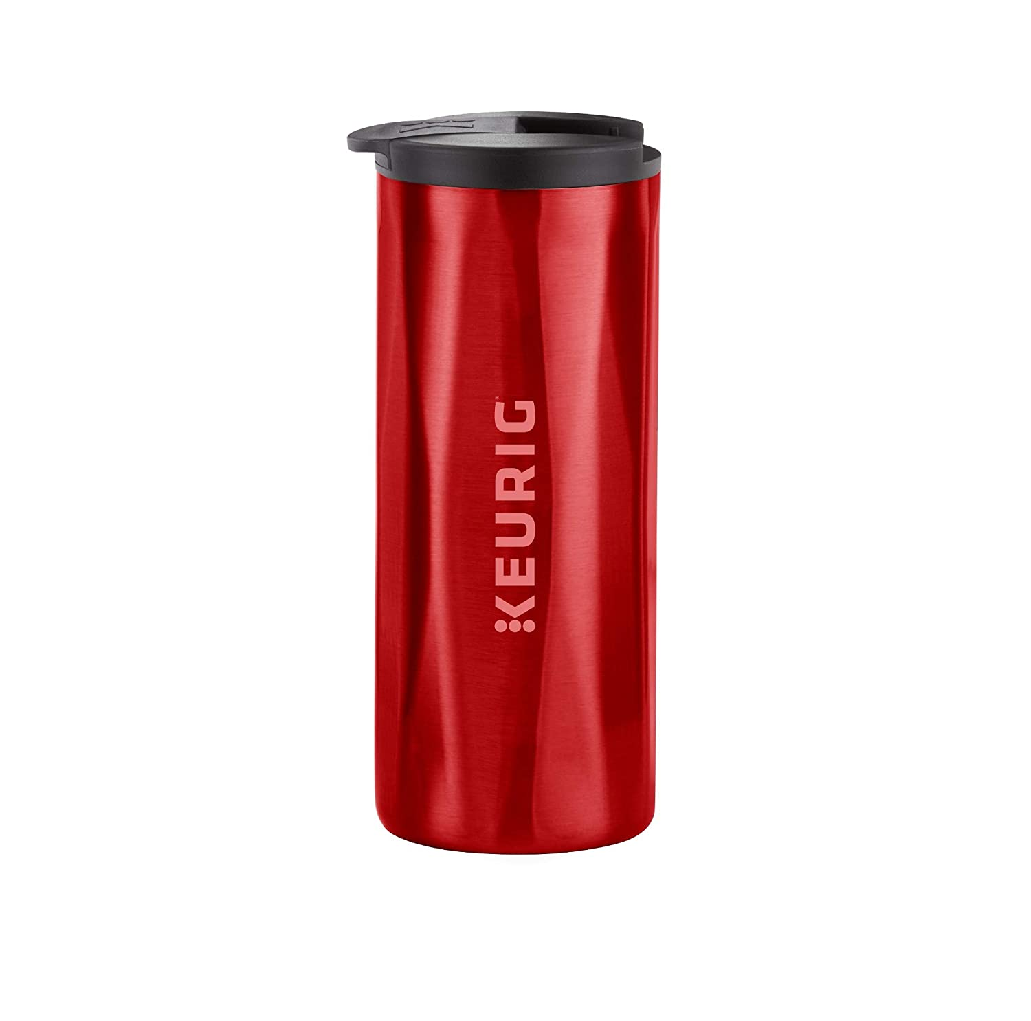 Keurig Faceted Stainless Steel Coffee Travel Mug, Fits Under Any Keurig K-Cup Pod Coffee Maker, 14 oz, Red