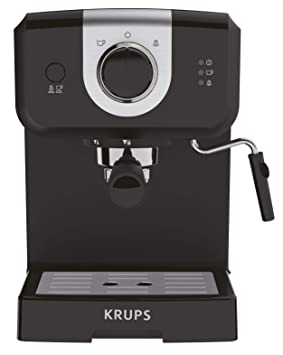 Krups Opio XP320810 - Cafetera express de 15 bares de presión, calentador de taza y espumador de leche para cappuccino, con ajuste manual, ...