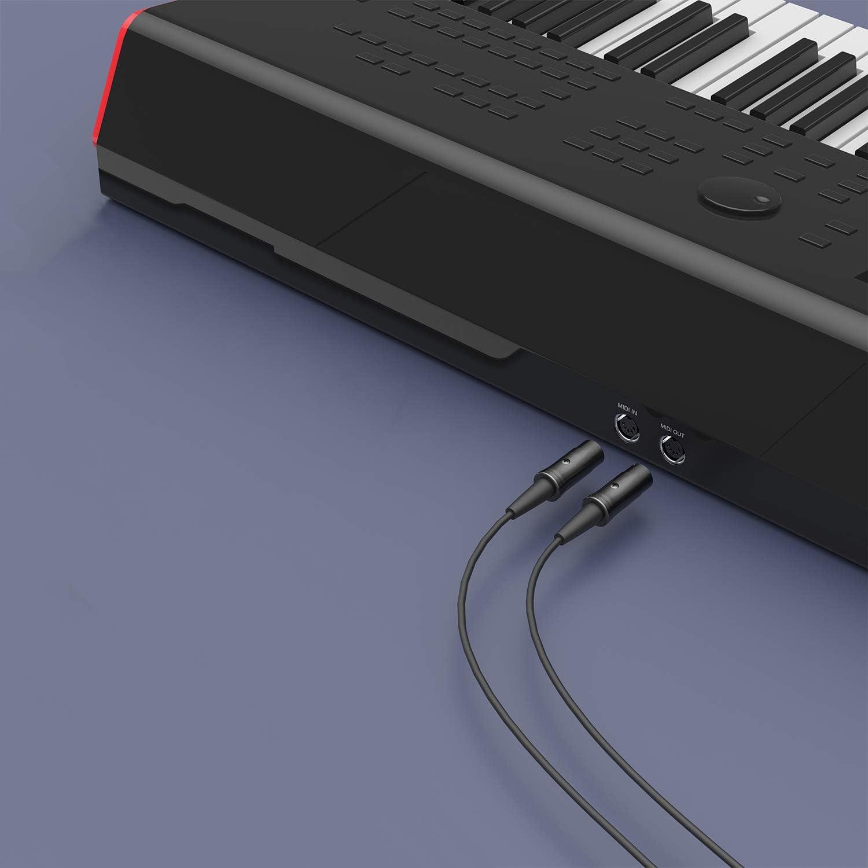 1,8 m, Paquete de 2 DigitalLife Cable de Enchufe MIDI de 5 Pines DIN a 5 Pines