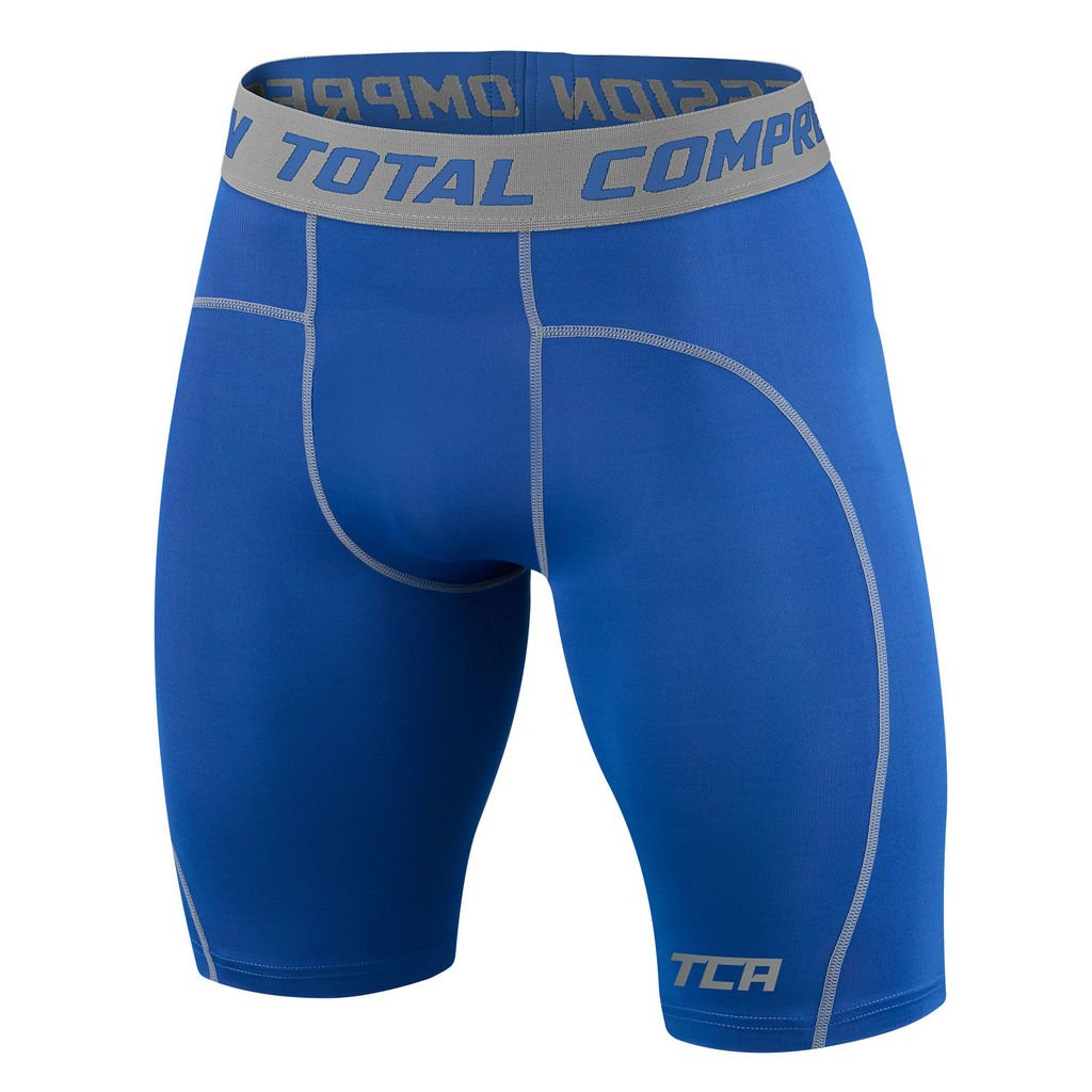 TCA Men's Boys Pro Performance Compression Base Layer Thermal Under Shorts - Varsity Royal 8-10 Years by TCA