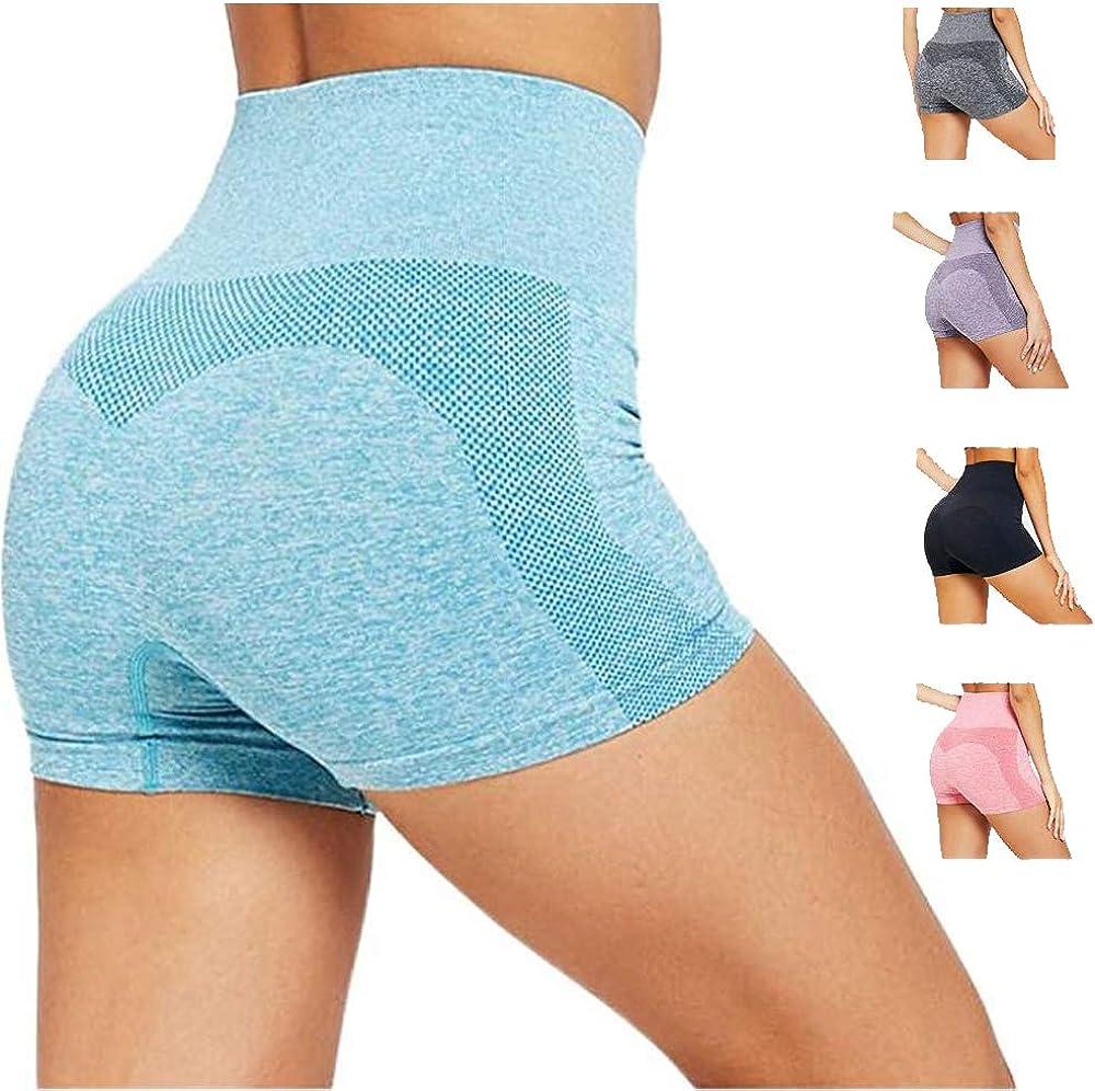 Flow.month Damen Sport Kurz Leggings Hohe Taille Sportshorts Einfarbig Bauchweg Traningshose Atmungsaktiv Yoga Tights Shorts Outdoor Sportwear