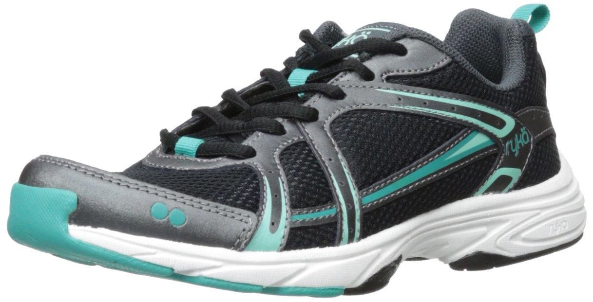 Ryka Women's Approach Cross-Training Shoe, Black/Metallic Iron Grey/Teal Blast/Beach Glass, 7 M US
