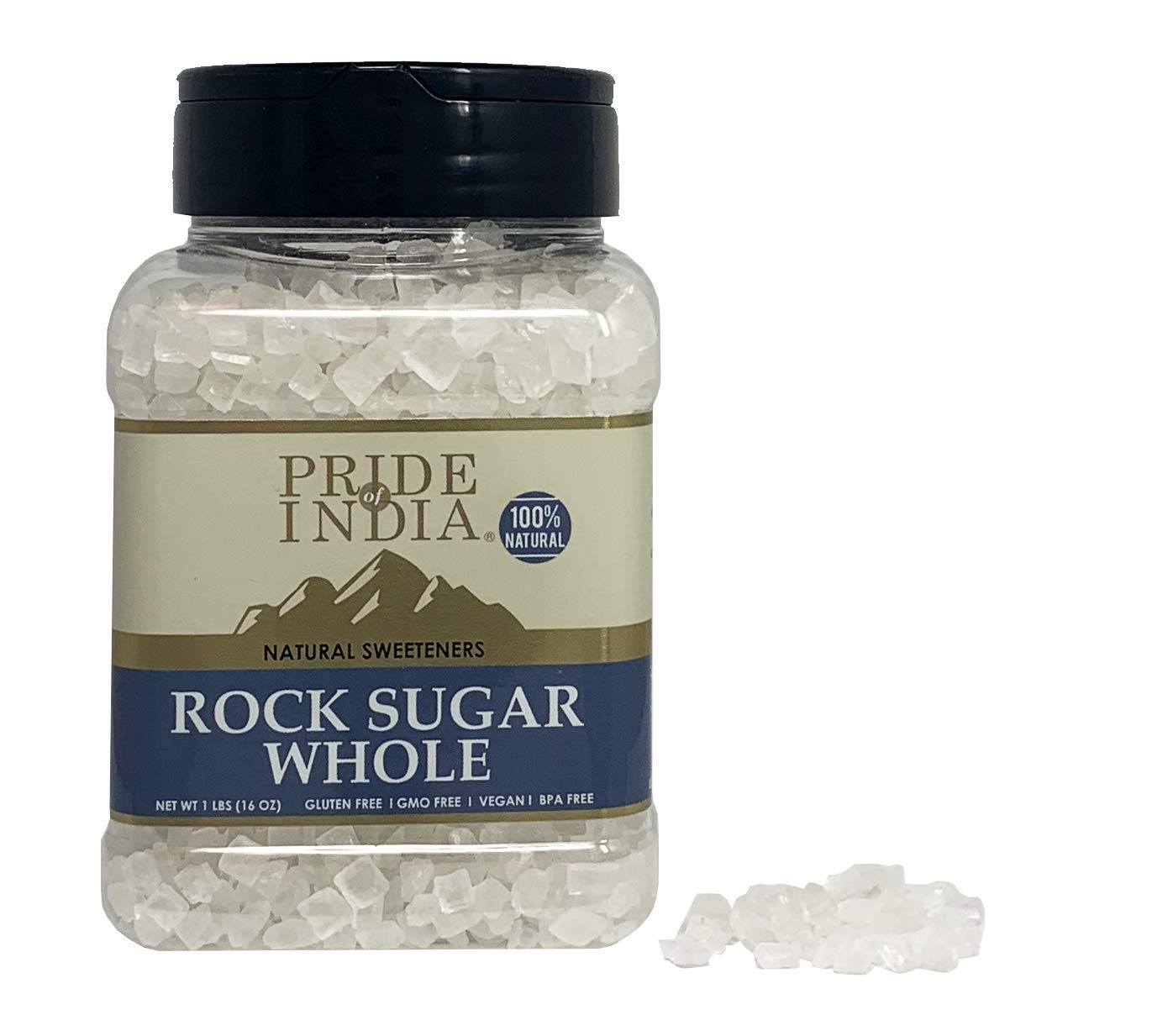 Pride Of India - Natural Crystal Rock Sugar Whole - 16 oz (454 gm) Medium Dual Sifter Jar - Authentic Indian Sugar Crystals - Used to Sweeten Milk or Tea - Offers Best Value for Money