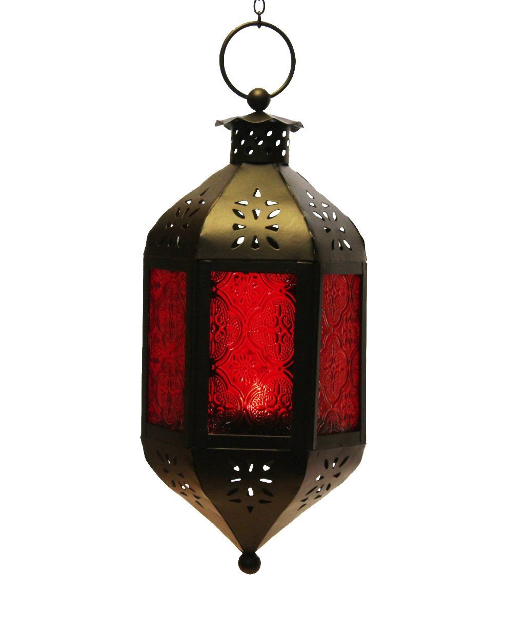 Orange Glass Hanging Moroccan Candle Lantern with Chain Vela Lanterns SYNCHKG063948