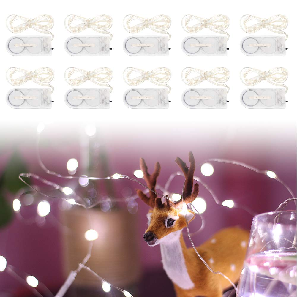 Fairy String Light Strip Lights Micro LED CR2032 Battery Powered Outdoor Waterproof Pure White 3ft/1m Garden Patio Wedding Bedroom Decoration (Pack of 10)